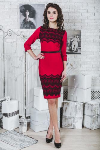Платье красное принт кружево