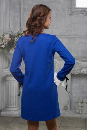Платье цвет синий с манжетами гофре