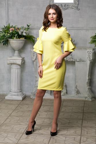 Платье с декором на рукавах цвет желтый