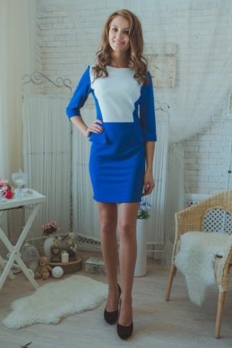 Платье синее с баской