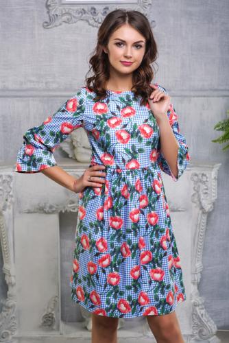 Платье голубая клетка с цветами