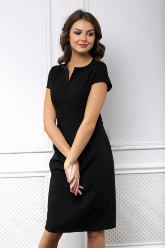 Платье черное футляр с вырезом
