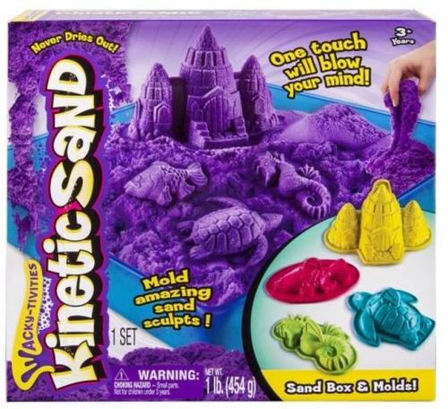 Набор, песок для лепки Kinetic sand, 1 яркий цвет, 454 гр, лоток, 4 формочки
