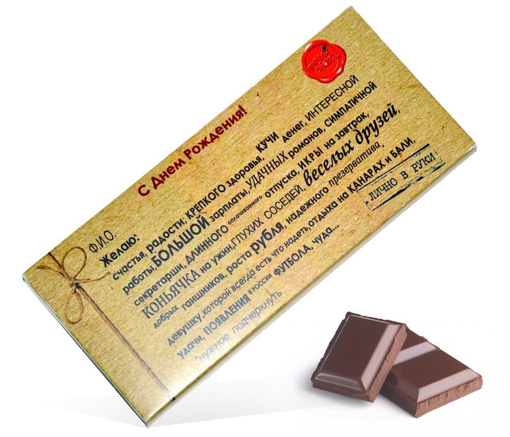 Поздравления с днем рождения к подарку шоколад