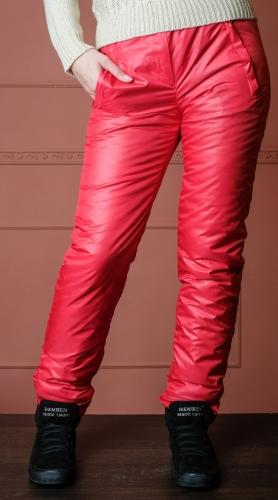 Утепленные зауженные женские брюки утеплитель синтепон арт. 006 цвет красный