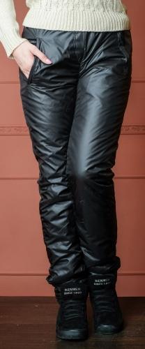 Утепленные зауженные женские брюки утеплитель синтепон арт. 006 цвет черный