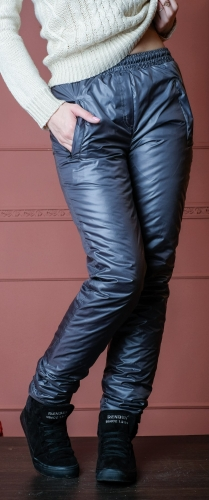 Утепленные зауженные женские брюки утеплитель синтепон арт. 006 цвет серый