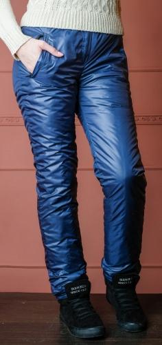 Утепленные зауженные женские брюки утеплитель флис арт. 006-ф цвет синий