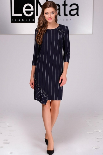 Платье Lenata 11803 / Лената 11803 темно-синий, полоска