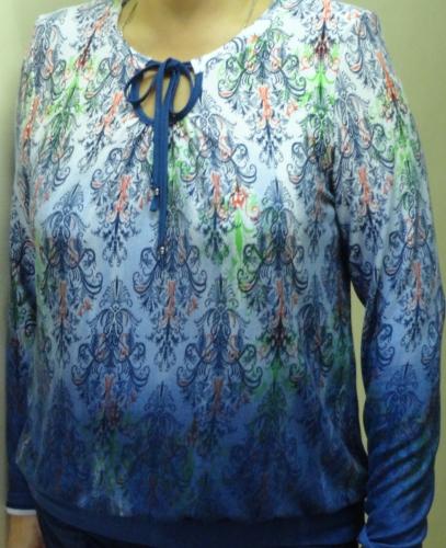 652п блуза  жен. 48-64 синяя  700