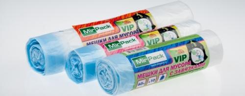 VIP Пакеты для мусора MIRPACK с завязками рулон 35л(55*60) 15 мкм /15 шт, черные