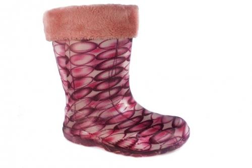 Резиновые сапоги утепленные (розовые)