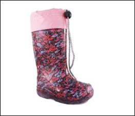 Резиновые сапоги (черный, розовый, цветы)