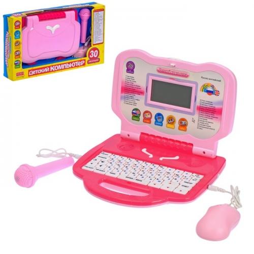 Компьютер детский, обучающий с микрофоном, русский, английский язык, 30 программ, работает от батареек, цвета МИКС