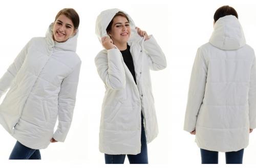 Полупальто утепленное с капюшоном цвет-белый