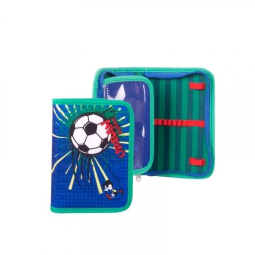 Пенал школьный на молнии Футбол (синий)