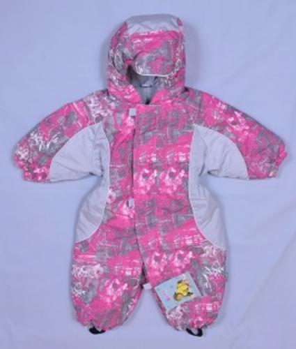 Комбинезон Снупи плащевая ткань  Расцветка: Малина граффити/светло серый