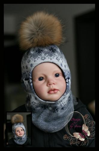 Шлемик для мальчика «Морозко»(серый) 44 и 46