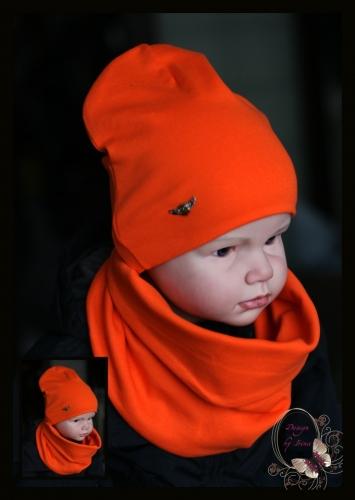 Удлиненная хлопковая шапка для мальчика «Армейский герб» оранж