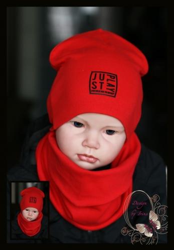 Удлиненная хлопковая шапка для мальчика «JustPlay» красная