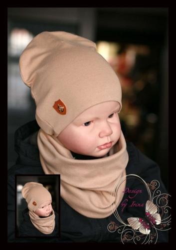 Удл. шапка для мальчика с небольшим якорем (темный беж)