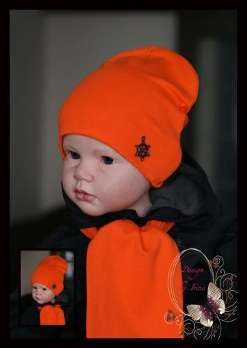 Удлинённая шапка оранжевая с украшением «Штурвал»