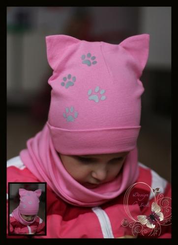 Шапка-кошка со светоотражателями «Лапки» (роз)