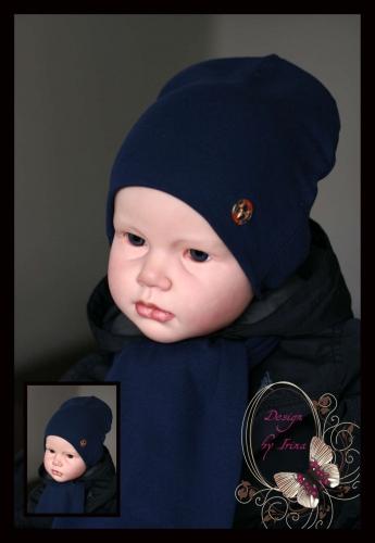 Удлинённая шапка т.синяя с лейблом casual