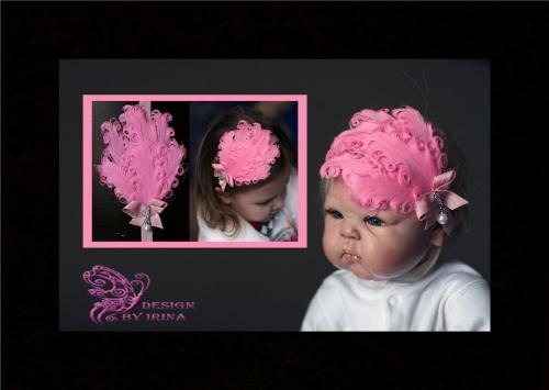 Тонкая повязка с декоративными перьями Шанталь(розовая)