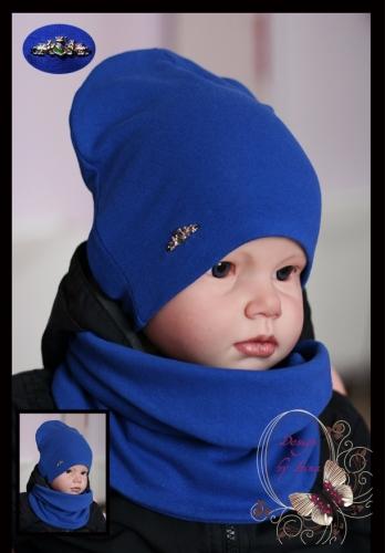 Удл. шапка для мальчика «Львы» (василёк)