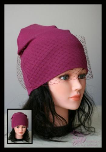 Удл. шапка с вуалью (вишня)