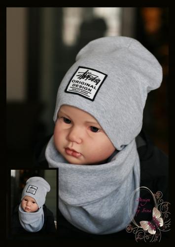 Удлиненная хлопковая шапка для мальчика «Original Design» серая