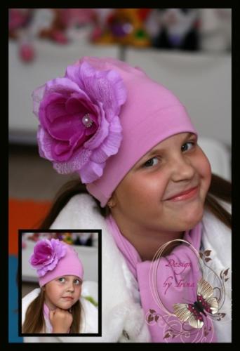 распродажа! Шапочка цвета лаванды с розой Верона