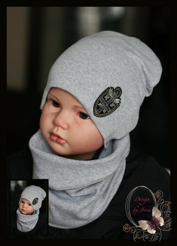 Удлиненная хлопковая шапка для мальчика «Blazon» серая