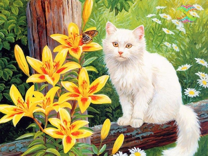 апрель фотообои коты с цветами комплект