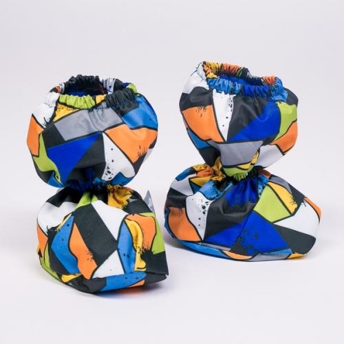 Пинетки-сапожки без утеплителя  Расцветка: Калейдоскоп синий