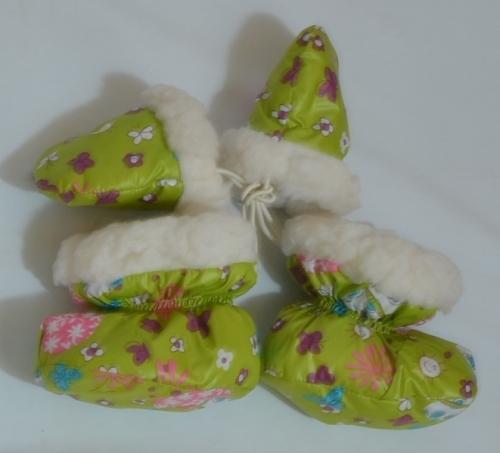 Пинетки с рукавицами  Расцветка:  Зелёный принт