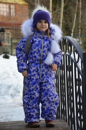 Комбинезон Снежный шик  Расцветка: Ультрамарин/цветы