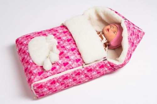 Конверт в коляску Меховой  Расцветка: Собачки/розовый
