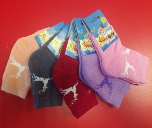 Носки дет. махровые С 113,                                                  рисунок олени и снежинки,