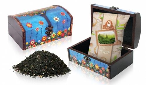 Подарочный набор. Деревянная шкатулка (чай с чабрецом и вереском) 1/6 100г.
