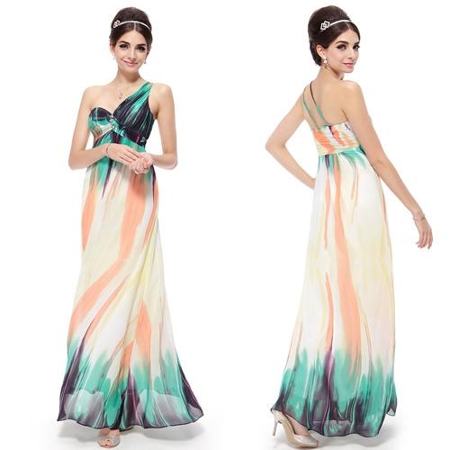 Разноцветное платье на одно плечо со стразами