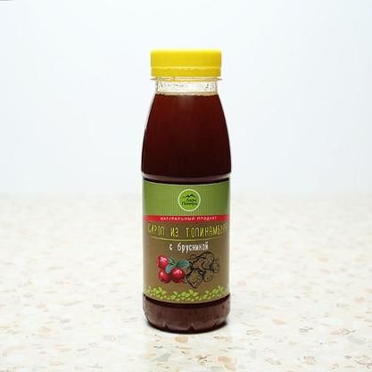 Натуральный сироп из топинамбура без сахара с брусникой, 330г