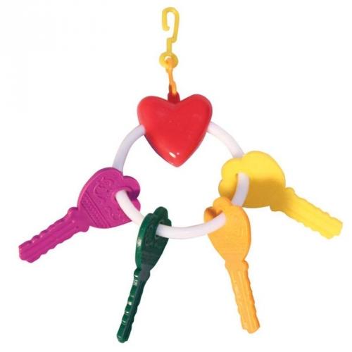ТРИОЛ BR-1 Игрушка для птиц ключи с сердечком на кольце, 1