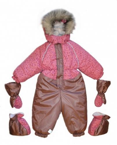 1025 комбинезон Морозко сизый-розовый принт