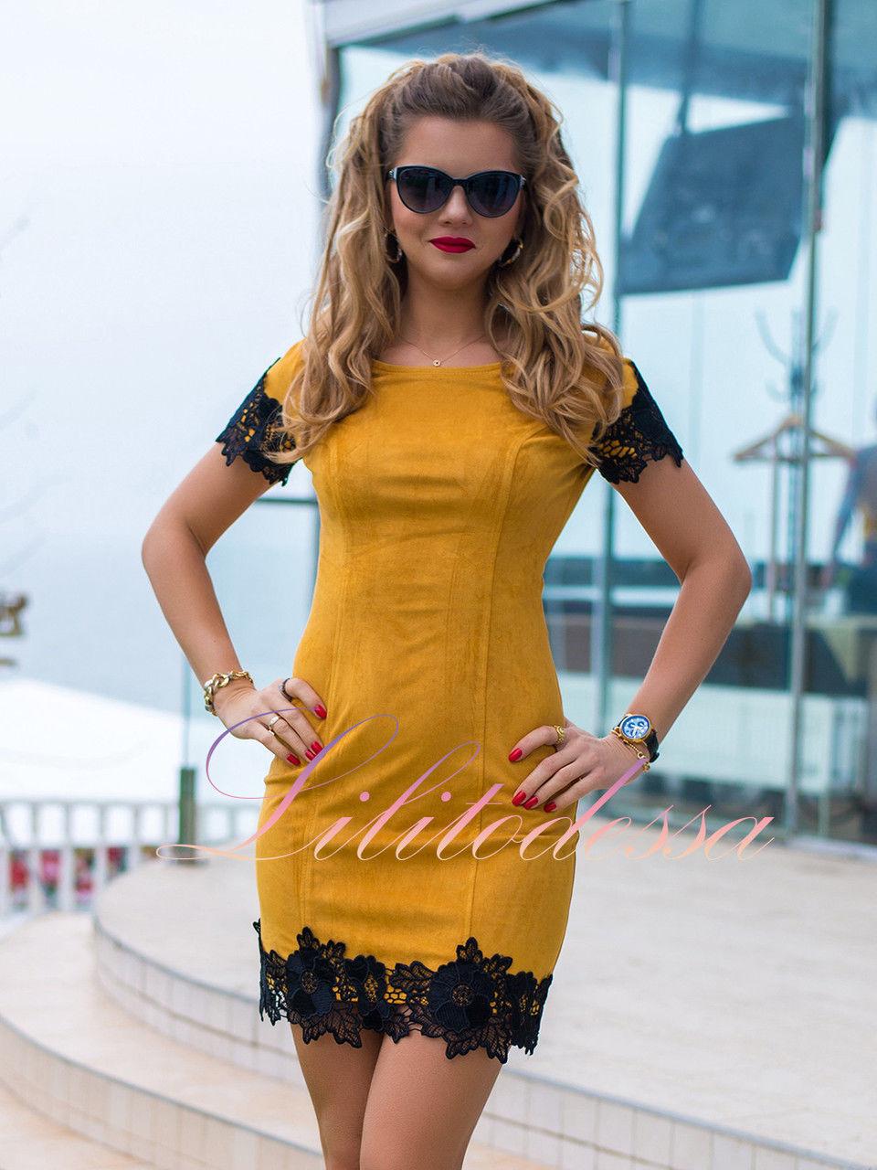 сделать ваш желтое платье с черным кружевом фото участки