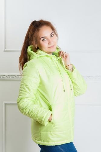 Куртка женская с капюшоном,утепленная синтепоном, цвет - лайм