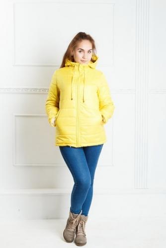 Куртка женская с капюшоном,утепленная синтепоном, цвет-желтый
