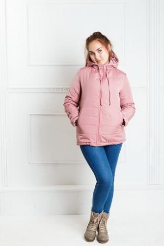 Куртка женская с капюшоном,утепленная синтепоном, цвет- пудра