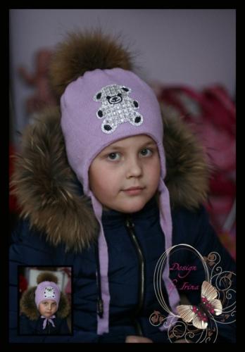 Вязаная шапка для девочки «BEAR»(аметист)